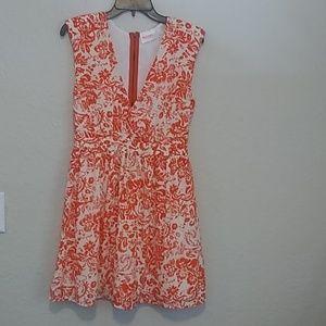 Moon floral print orange/white dress Medium